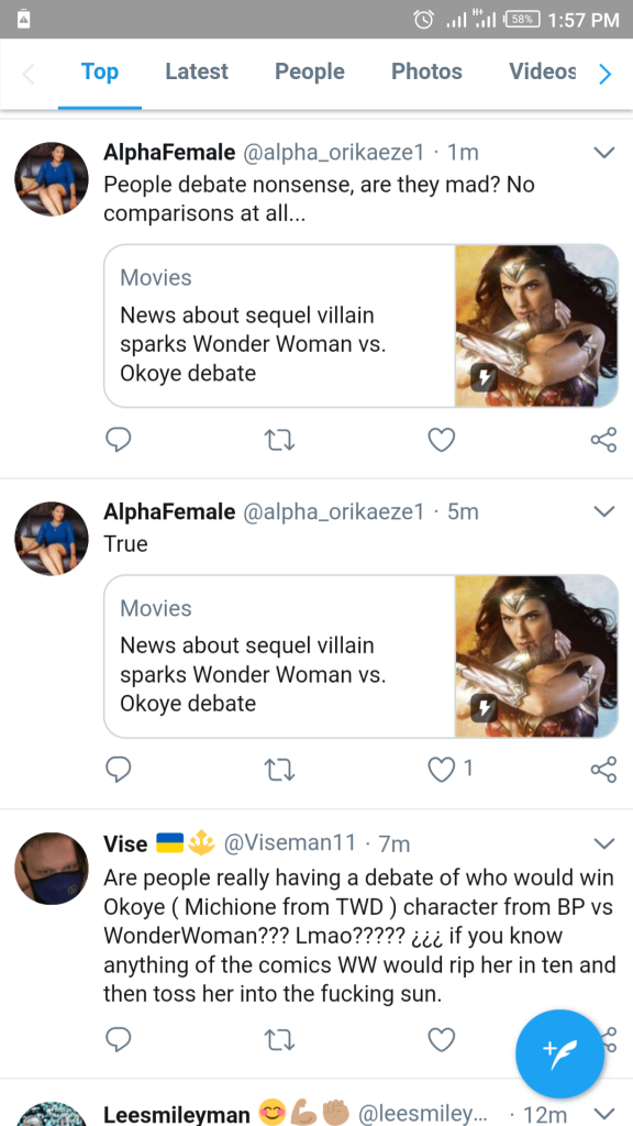 Tweet about wonder woman vs okoye fight