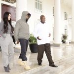 Pictures from Kim and Kanye West visit to Ugandan president